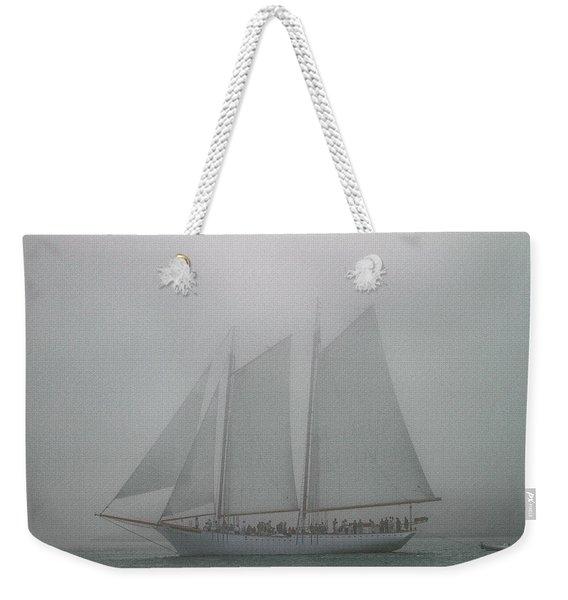 Schooner In Fog Weekender Tote Bag