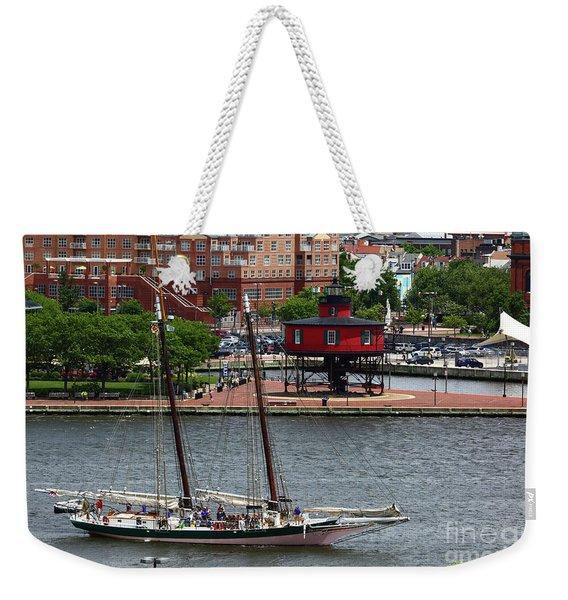 Schooner Lady Maryland Leaving Inner Harbor Baltimore Weekender Tote Bag