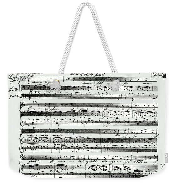 Schubert, Score Of Gretchen Am Spinnrade 1st Page Of Autograph Score Weekender Tote Bag