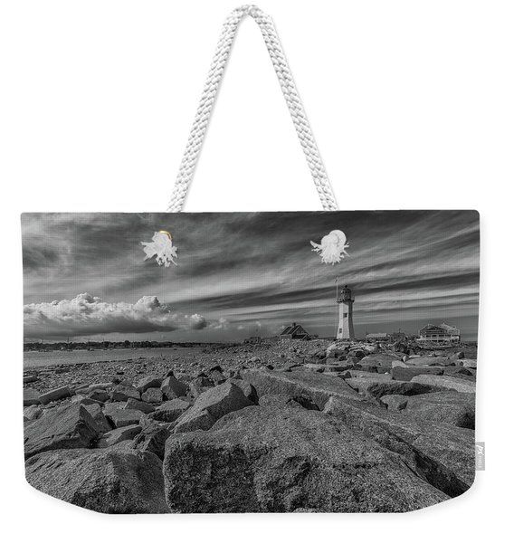 Scituate Lighthouse From The End Of The Jetty Weekender Tote Bag