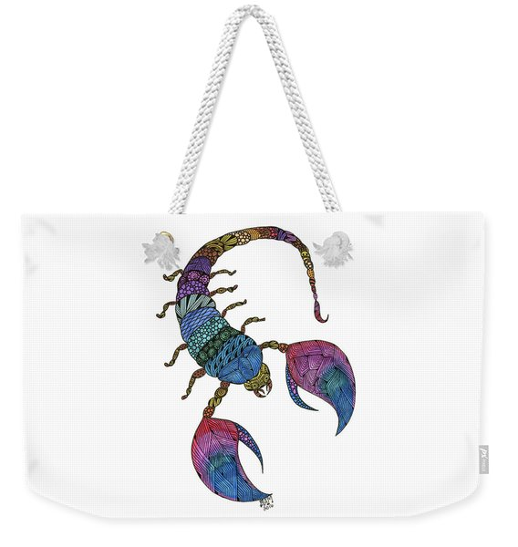 Weekender Tote Bag featuring the drawing Scorpio by Barbara McConoughey