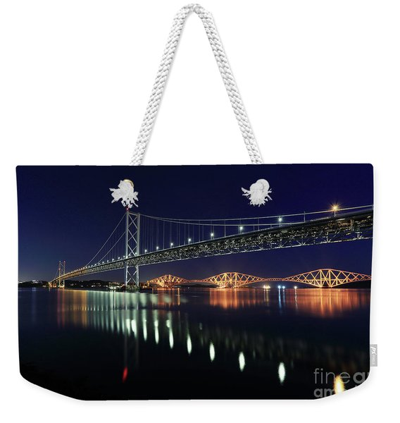 Scottish Steel In Silver And Gold Lights Across The Firth Of Forth At Night Weekender Tote Bag