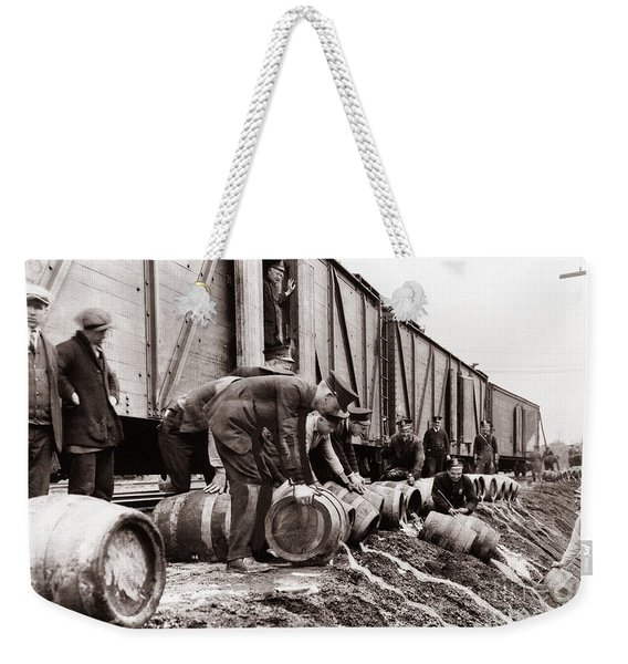 Scranton Police Dumping Beer During Prohibition  Scranton Pa 1920 To 1933 Weekender Tote Bag