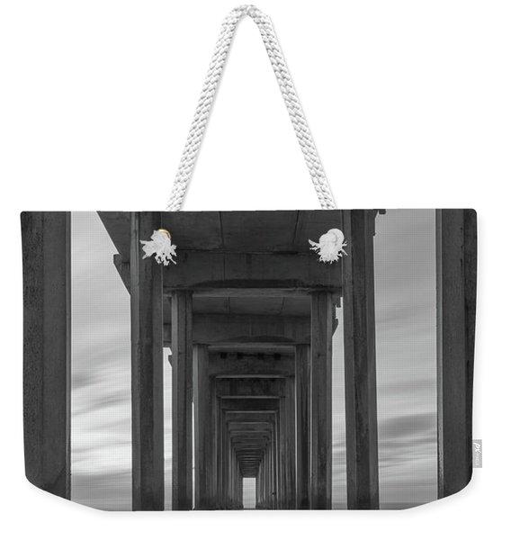 Scripps Pier Pillars Bw Weekender Tote Bag