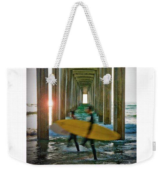 Scripps Pier Surfers Weekender Tote Bag