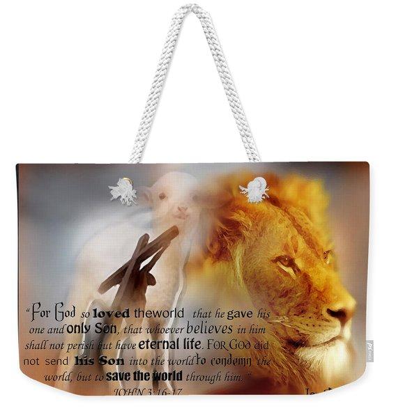 Scripture Art    Lamb Of God Weekender Tote Bag