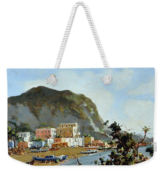 Sea And Mountain With Boats Weekender Tote Bag