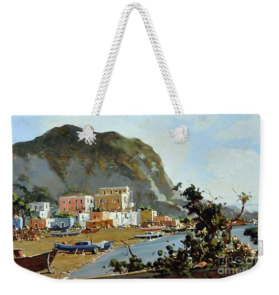 Weekender Tote Bag featuring the painting Sea And Mountain With Boats by Rosario Piazza