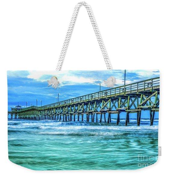 Sea Blue Cherry Grove Pier Weekender Tote Bag