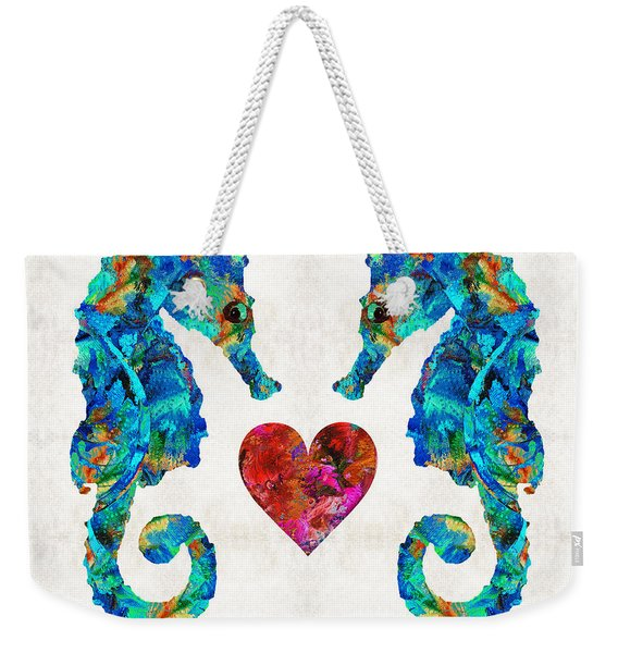 Sea Lovers - Seahorse Beach Art By Sharon Cummings Weekender Tote Bag