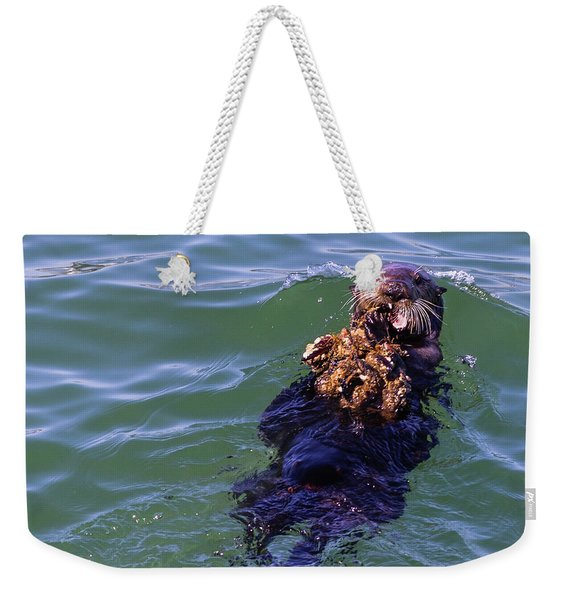 Sea Otter With Lunch Weekender Tote Bag
