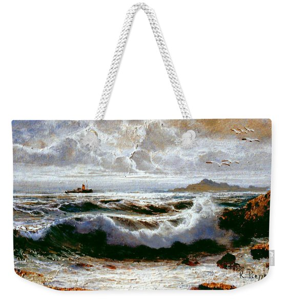 Weekender Tote Bag featuring the painting Sea Storm by Rosario Piazza