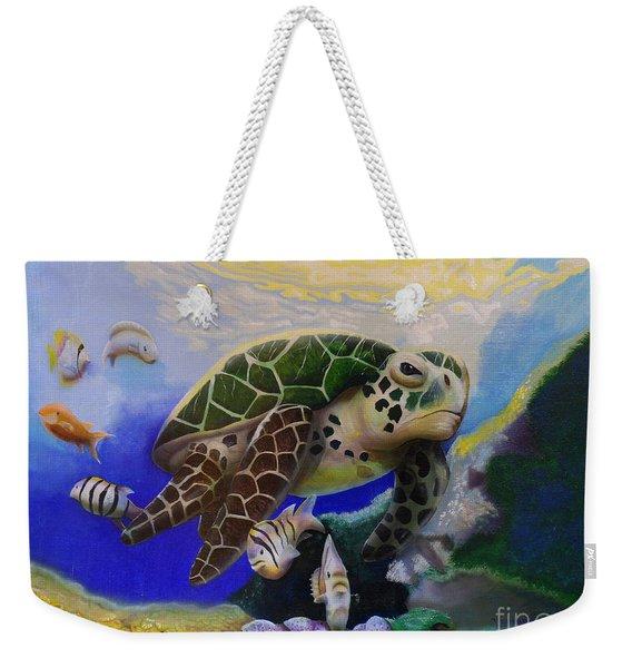 Sea Turtle Acrylic Painting Weekender Tote Bag