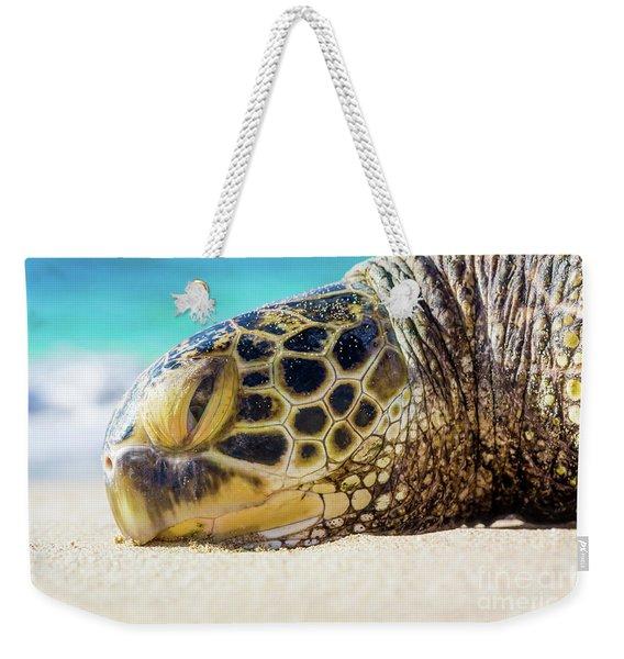 Sea Turtle Resting At The Beach Weekender Tote Bag