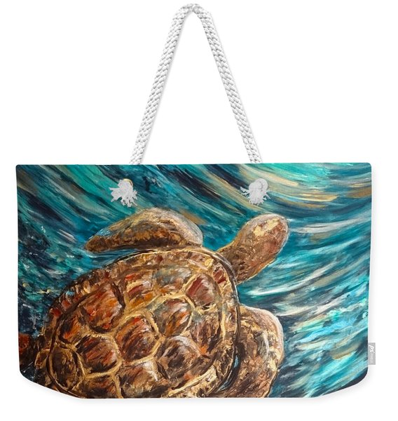Sea Turtle Wave Guam Weekender Tote Bag