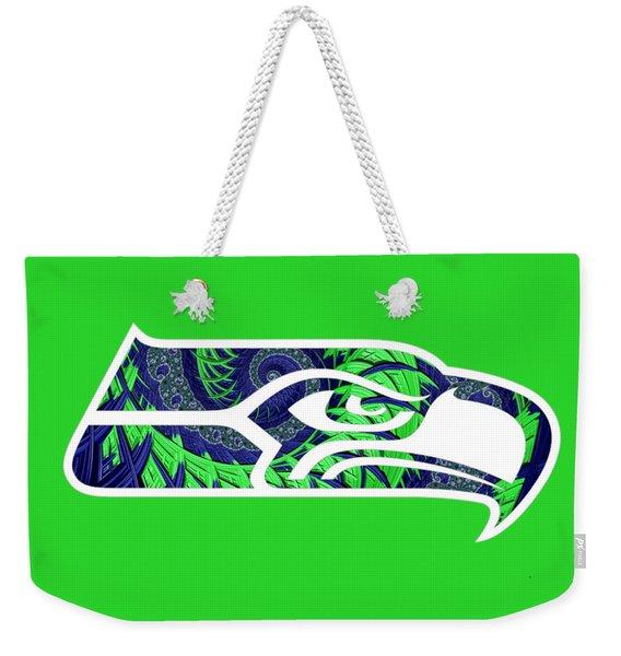 Seahawks Fractal Weekender Tote Bag