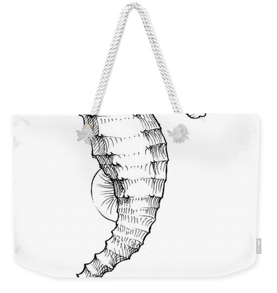 Seahorse Black And White Sketch Weekender Tote Bag