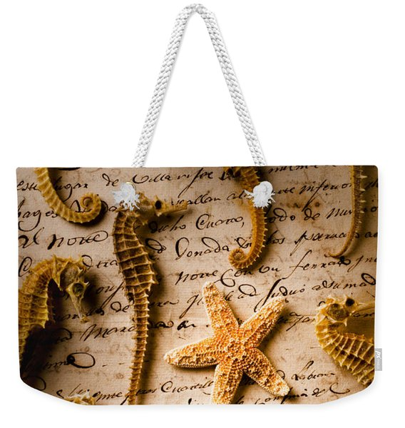 Seahorses And Starfish On Old Letter Weekender Tote Bag