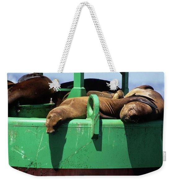 Seals On Channel Marker Weekender Tote Bag