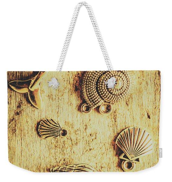 Seashell Shaped Pendants On Wooden Background Weekender Tote Bag