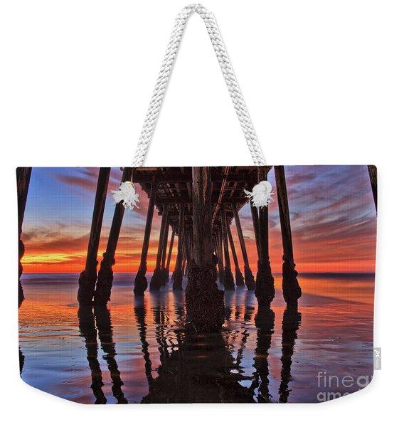 Seaside Reflections Under The Imperial Beach Pier Weekender Tote Bag