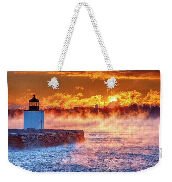 Weekender Tote Bag featuring the photograph Seasmoke At Salem Lighthouse by Jeff Folger