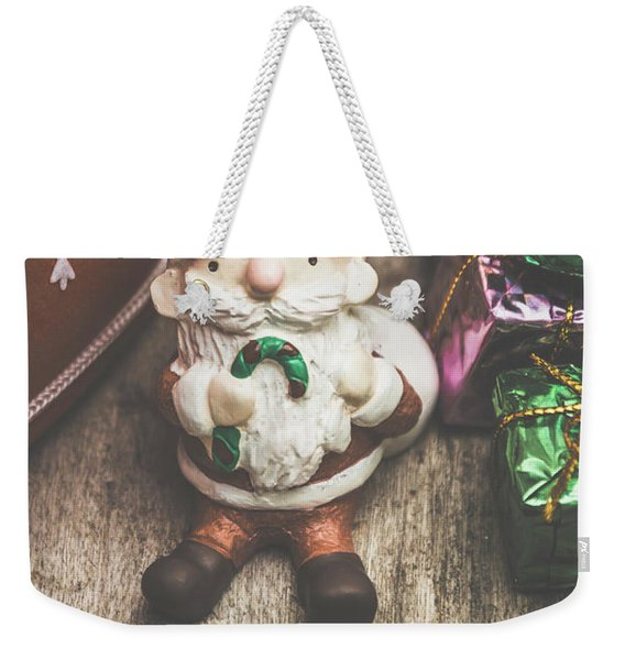 Seasons Greeting Santa Weekender Tote Bag