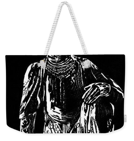 Weekender Tote Bag featuring the drawing Seated Buddha by Ashley Kujan