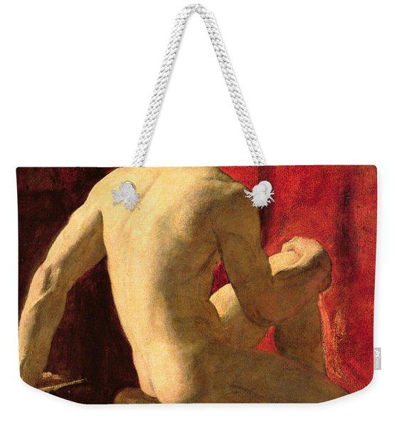 Seated Male Model Weekender Tote Bag