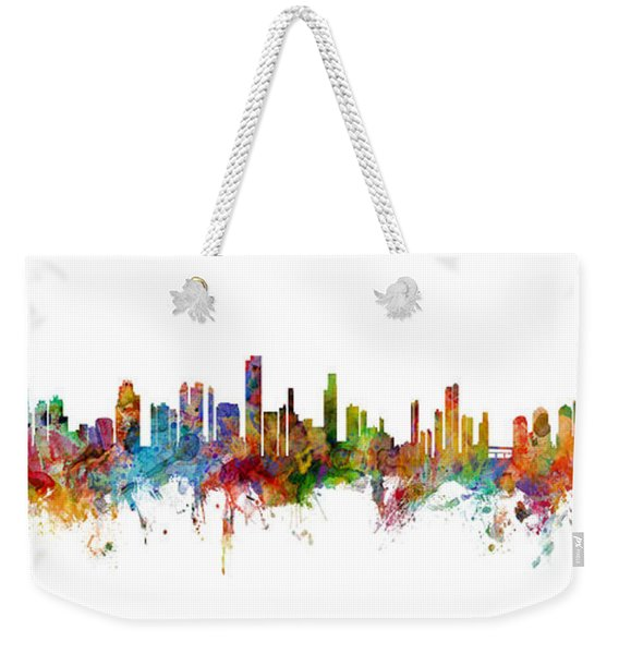 Seattle, Honolulu And Miami Skylines Mashup Weekender Tote Bag