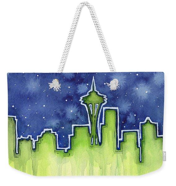 Seattle Night Sky Watercolor Weekender Tote Bag