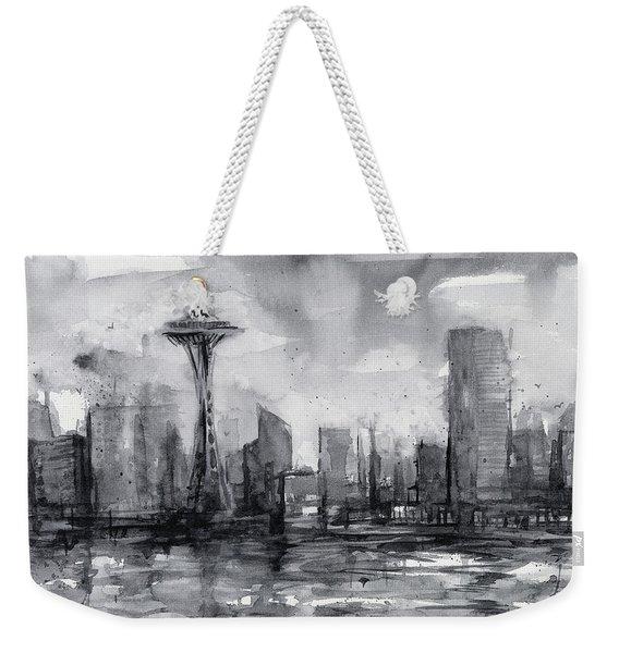Seattle Skyline Painting Watercolor  Weekender Tote Bag