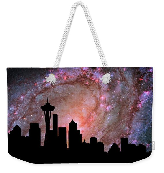 Seattle Skyline Silhouette Galaxy Weekender Tote Bag