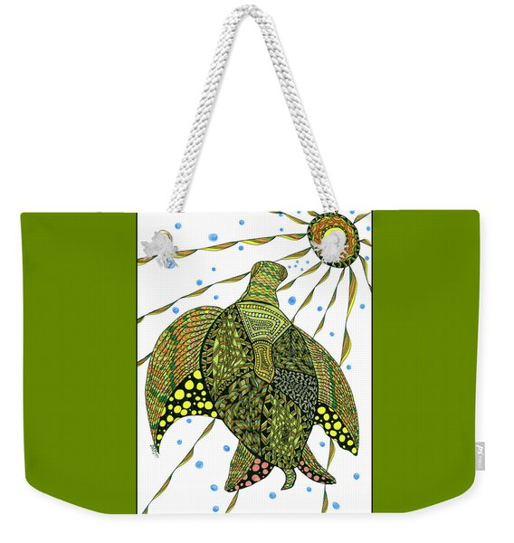 Weekender Tote Bag featuring the drawing Seaturtle  by Barbara McConoughey