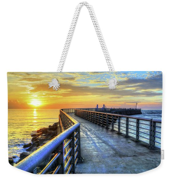 Sebastian Inlet Pier Along Melbourne Beach Weekender Tote Bag