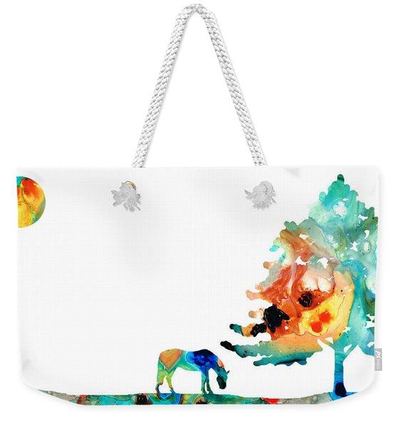 Seeking Shelter - Colorful Horse Art Painting Weekender Tote Bag