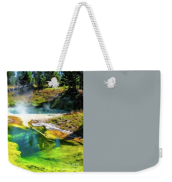 Weekender Tote Bag featuring the photograph Seismograph Pool In Yellowstone by Benny Marty