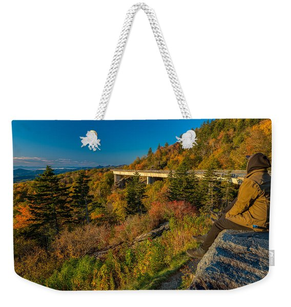 Seize The Day At Linn Cove Viaduct Autumn Weekender Tote Bag