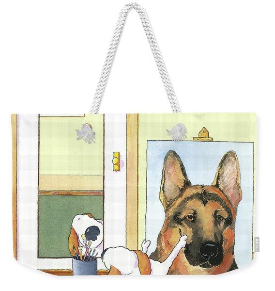 Self Portrait, German Shepherd Weekender Tote Bag