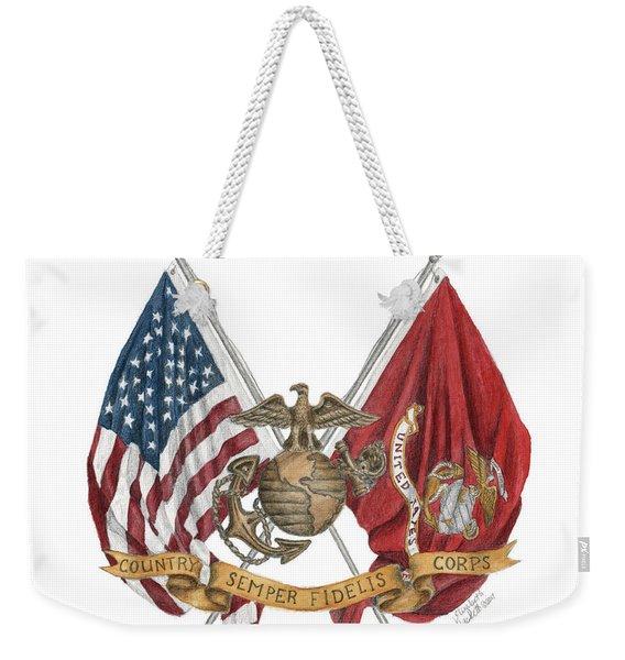 Semper Fidelis Crossed Flags Weekender Tote Bag