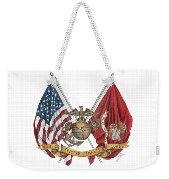 Semper Fidelis Crossed Flags Weekender Tote Bag