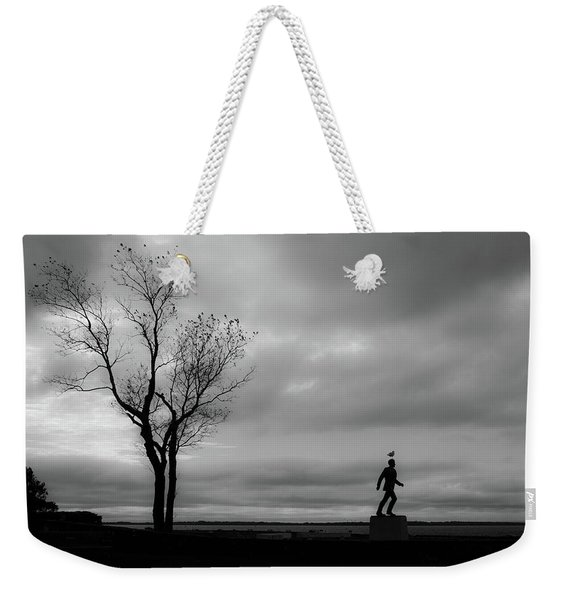 Weekender Tote Bag featuring the photograph Senator Chafee And The Tree by Nancy De Flon