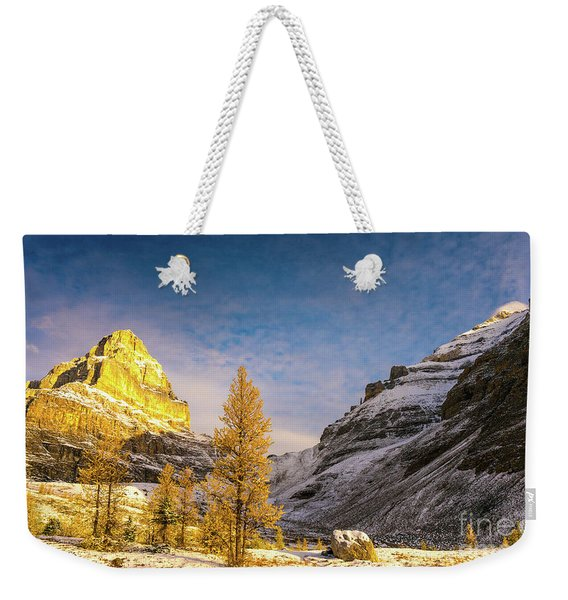 Sentinel Pass Golden Larches Canadian Rockies Weekender Tote Bag