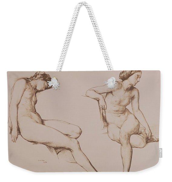 Sepia Drawing Of Nude Woman Weekender Tote Bag