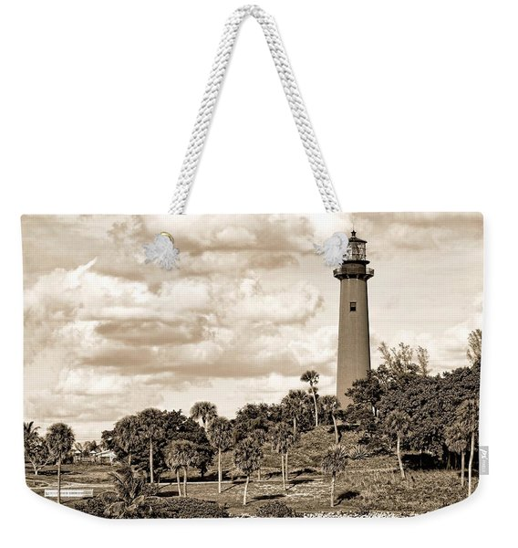 Sepia Lighthouse Weekender Tote Bag