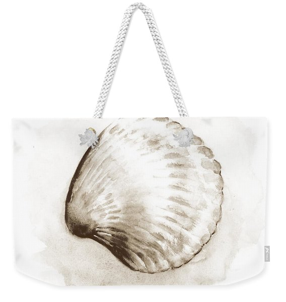Sepia Tone Clam Shell Watercolor Weekender Tote Bag