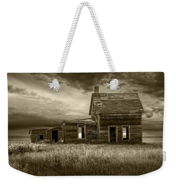 Sepia Tone Of Abandoned Prairie Farm House Weekender Tote Bag