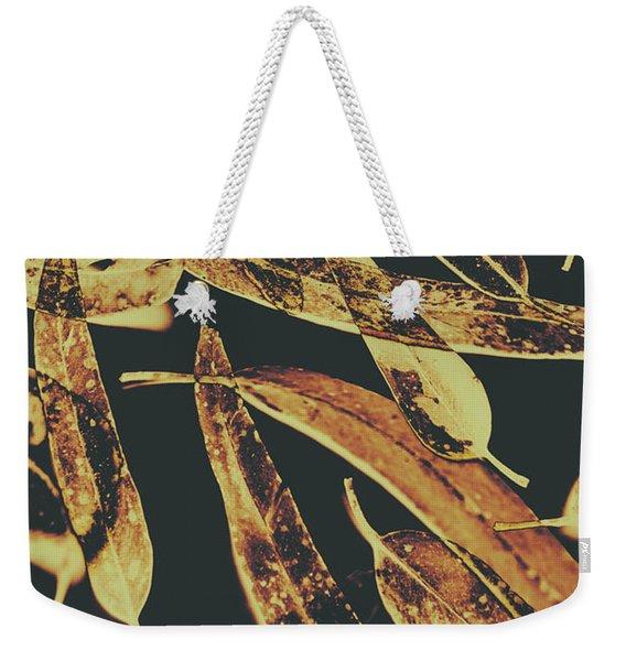 Sepia Toned Image Of Floating Eucalyptus Leaves Weekender Tote Bag