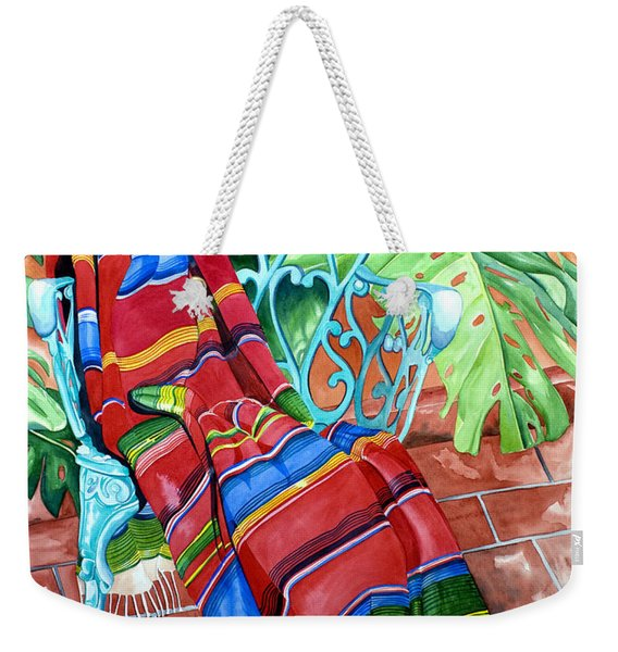 Serape On Wrought Iron Chair I Weekender Tote Bag
