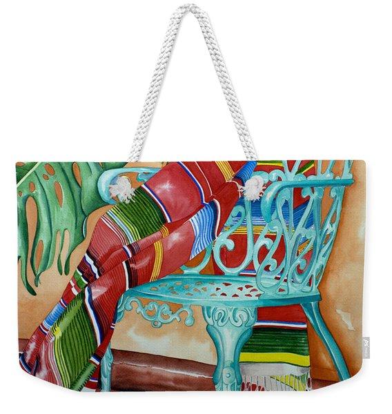 Serape On Wrought Iron Chair II Weekender Tote Bag